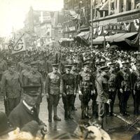 Illinois National Guard parading down N. Main St. in downtown Decatur, IL c. 1918