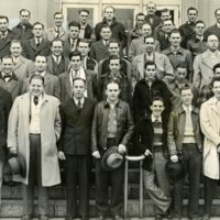 Photo of Macon County, IL. Draftees Standing on Courthouse Steps.